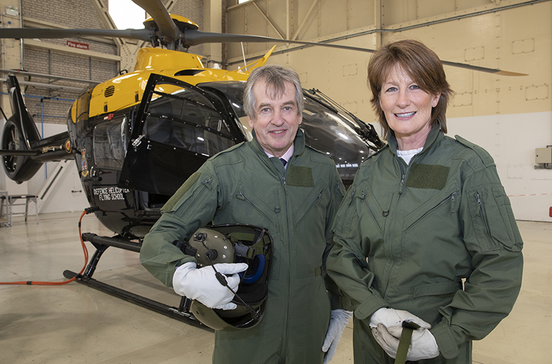 Lord-Lieutenant of Shropshire Anna Turner at RAF Shawbury with the High Sheriff - Mar 2019
