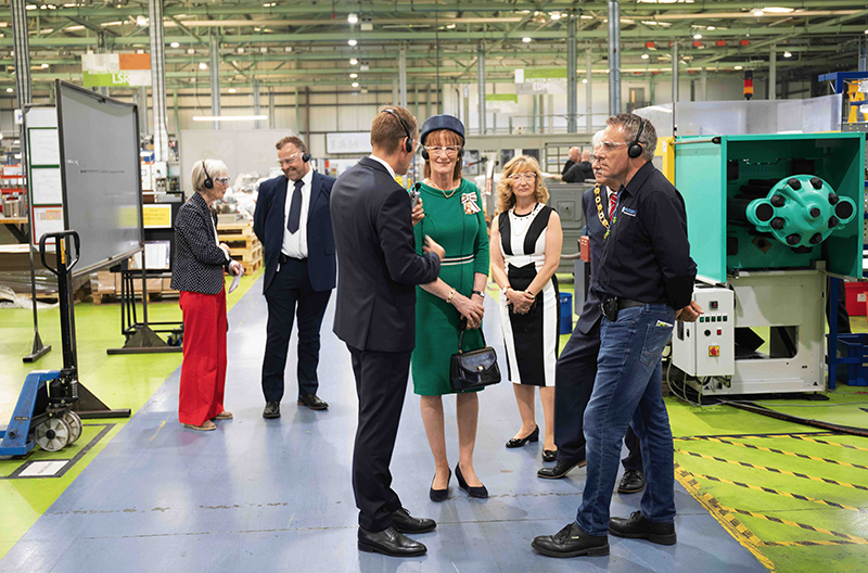 Lord-Lieutenant chats to Queen's Award for Enterprise winner Protolabs' staff.
