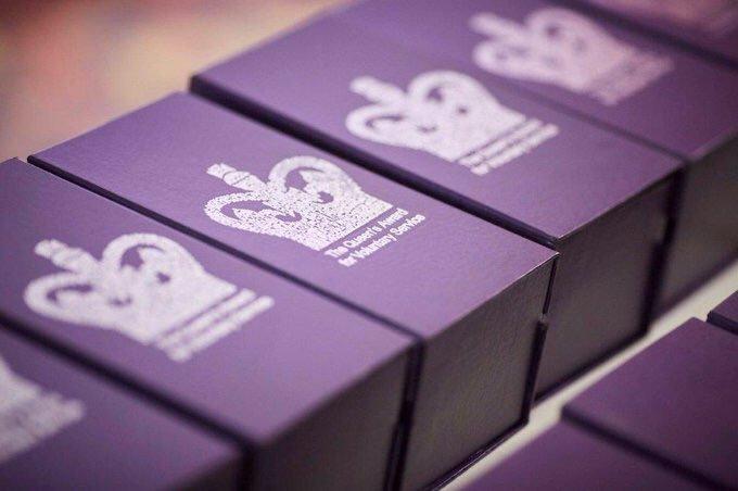 Queen's Award for Voluntary Service Award boxes