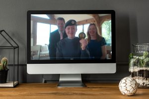 Cadet Sergeant Isabella Rennision from Telford, representing the Air Cadets with her parents