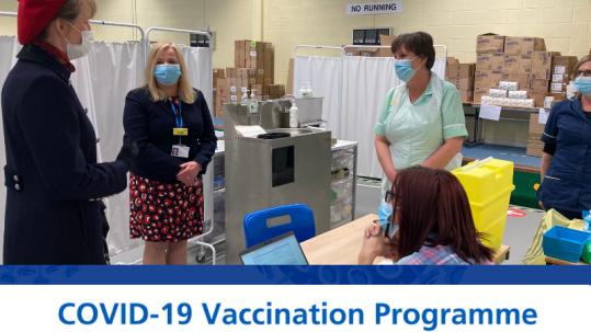 Lord-Lieutenant, Anna Turner at Covid-19 Vaccination Centre