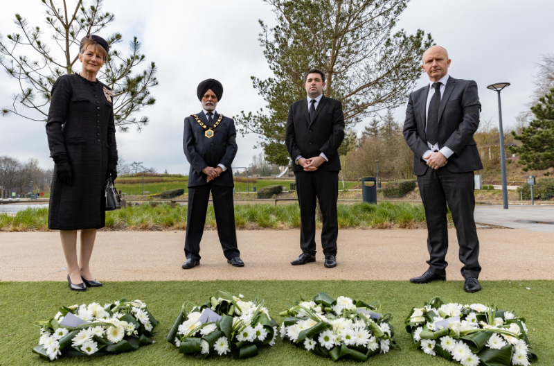 The Lord-Lieutenant of Shropshire and leaders of the council laying wreath to honour HRH Duke of Edinburgh