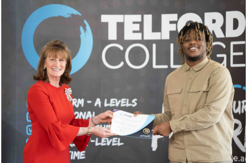 HM Lord-Lieutenant of Shropshire Anna Turner with Telford College student Felix Akoye Anyichie