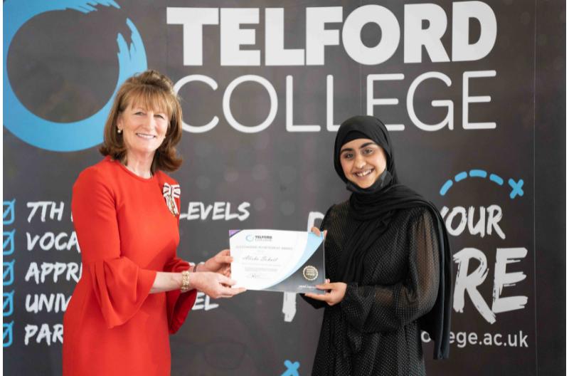 HM Lord-Lieutenant of Shropshire Anna Turner with Telford College student Alisha Sohail