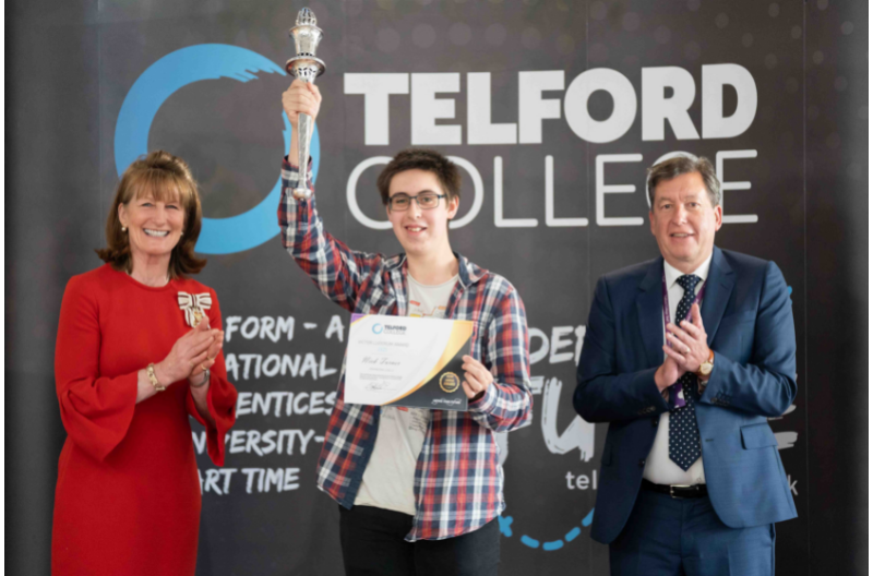 HM Lord-Lieutenant of Shropshire Anna Turner with Telford College studentVictor Ludorum winner, Nick Turner and principal Graham Guest.
