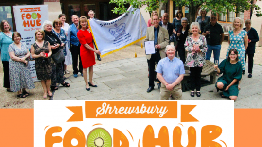HM Lord-Lieutenant Anna Turner presenting the Shrewsbury Food Hub with the Queens Award for Voluntary Service
